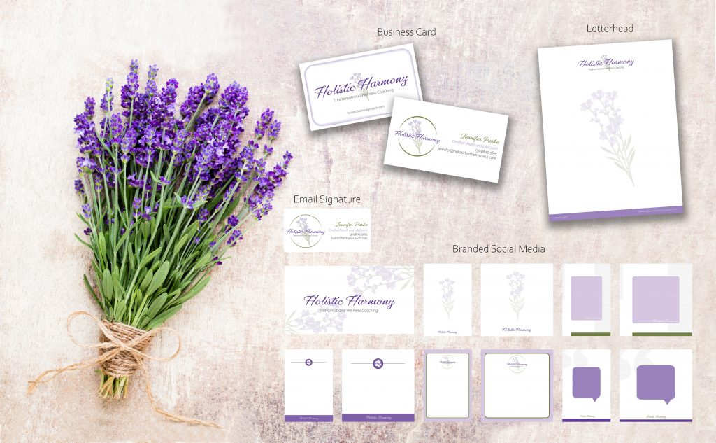 Lavender flowers, bouquet on rustic background, branded stationary